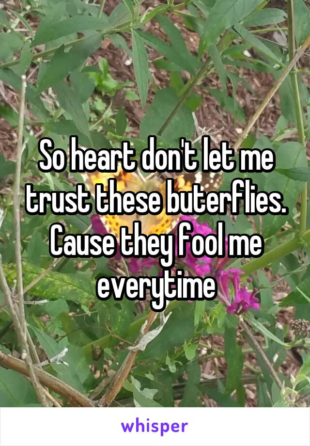 So heart don't let me trust these buterflies. Cause they fool me everytime