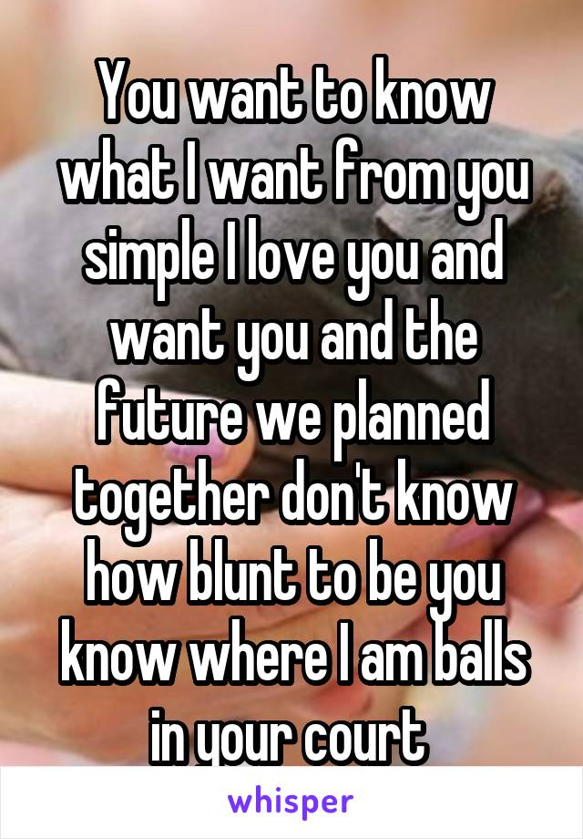 You want to know what I want from you simple I love you and want you and the future we planned together don't know how blunt to be you know where I am balls in your court