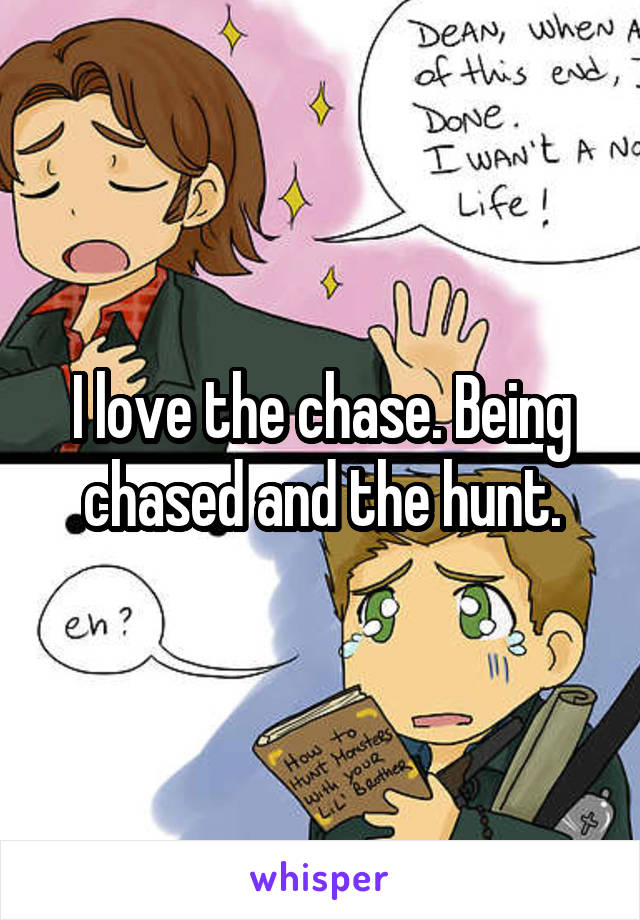 I love the chase. Being chased and the hunt.