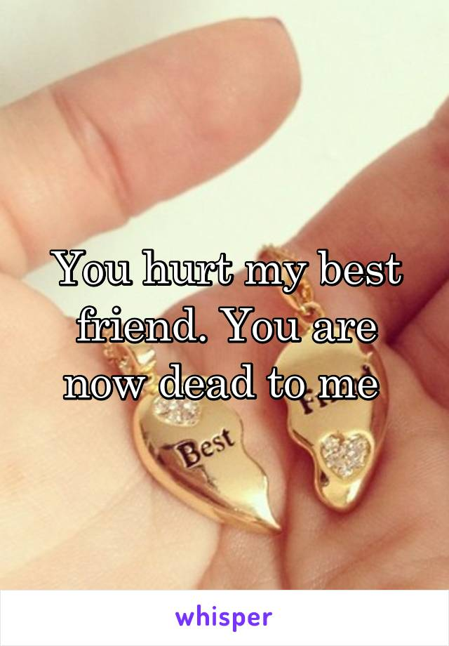 You hurt my best friend. You are now dead to me