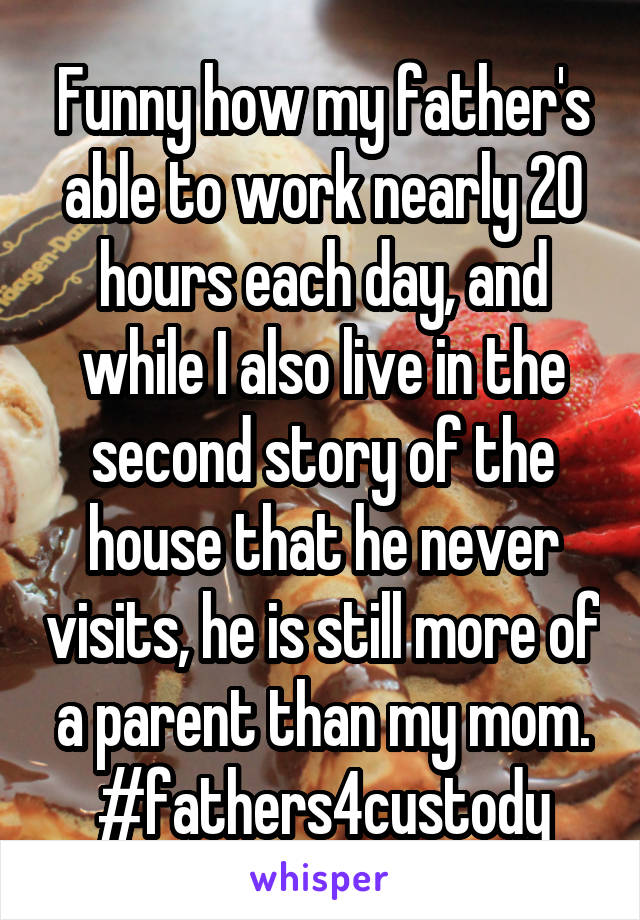 Funny how my father's able to work nearly 20 hours each day, and while I also live in the second story of the house that he never visits, he is still more of a parent than my mom. #fathers4custody