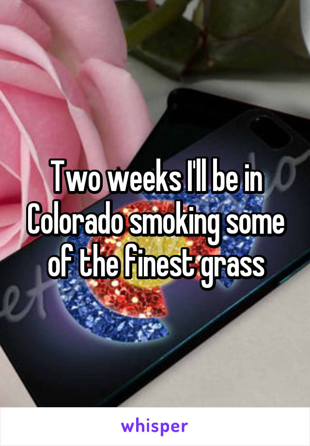 Two weeks I'll be in Colorado smoking some of the finest grass