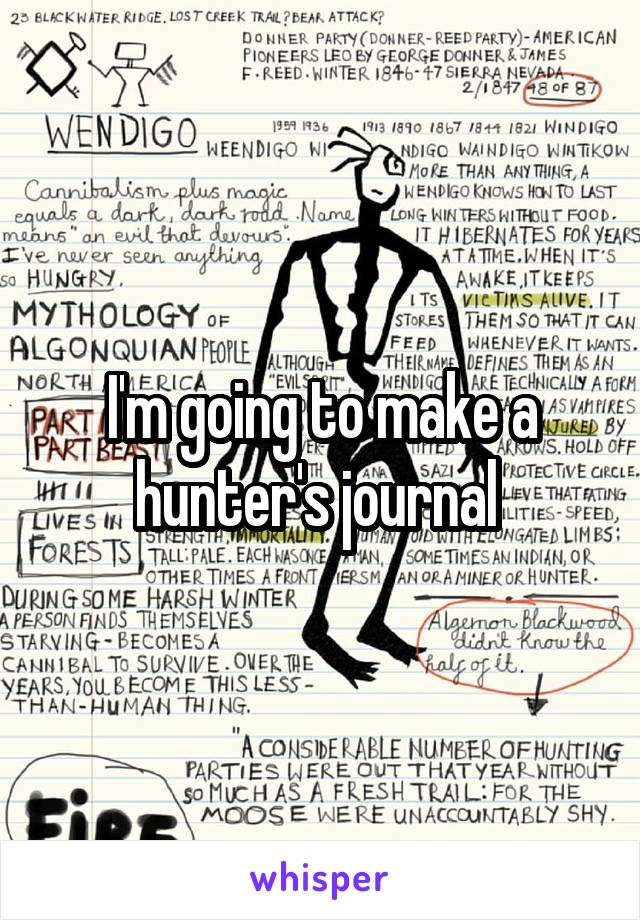 I'm going to make a hunter's journal