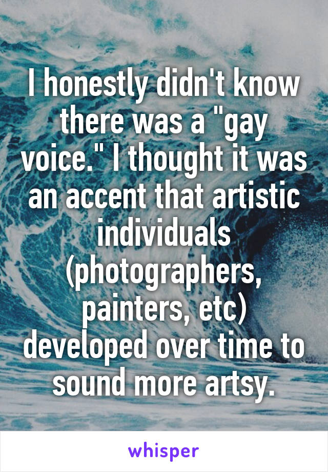 """I honestly didn't know there was a """"gay voice."""" I thought it was an accent that artistic individuals (photographers, painters, etc) developed over time to sound more artsy."""