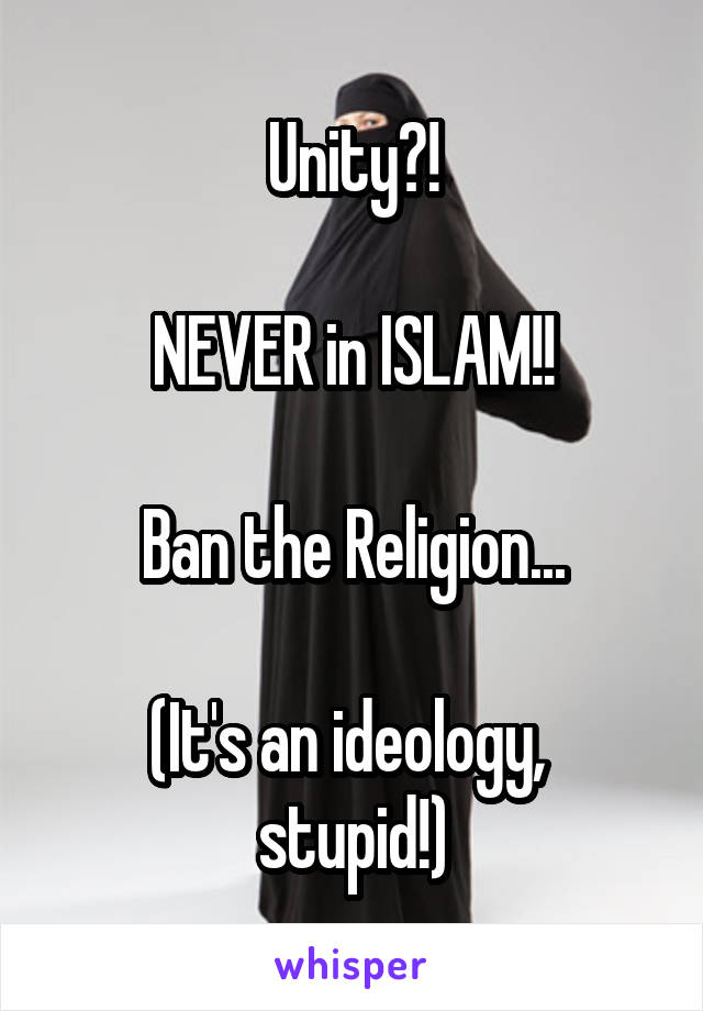 Unity?!  NEVER in ISLAM!!  Ban the Religion...  (It's an ideology,  stupid!)