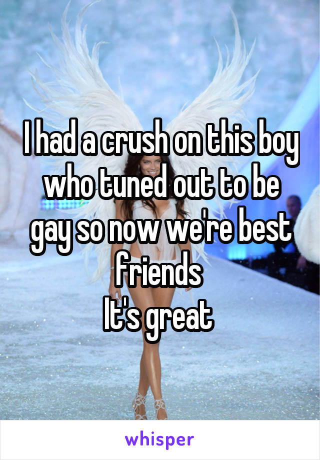 I had a crush on this boy who tuned out to be gay so now we're best friends  It's great