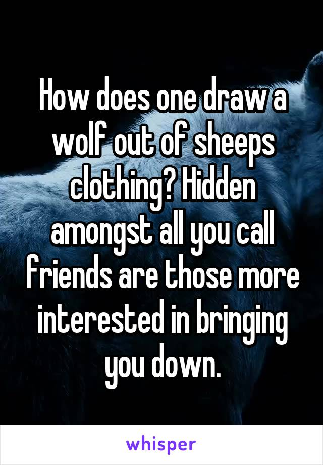 How does one draw a wolf out of sheeps clothing? Hidden amongst all you call friends are those more interested in bringing you down.