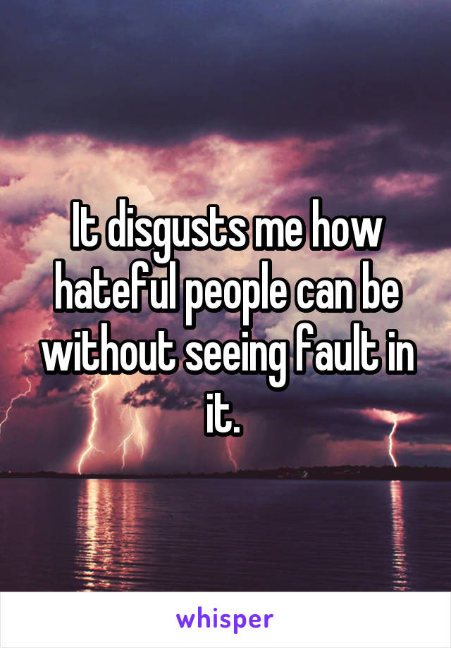 It disgusts me how hateful people can be without seeing fault in it.