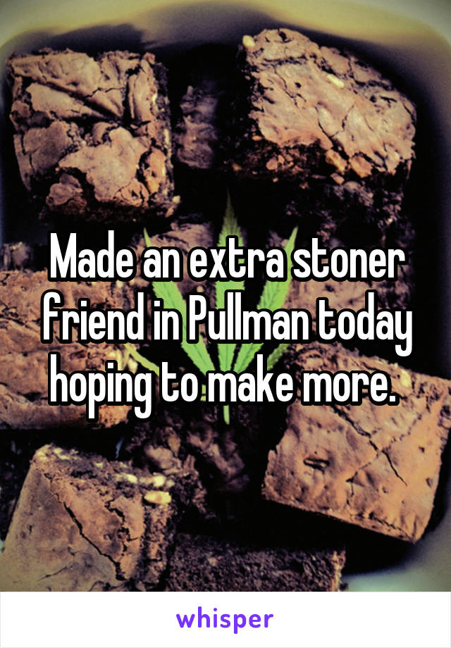 Made an extra stoner friend in Pullman today hoping to make more.