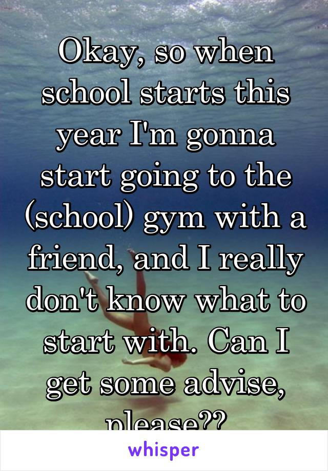 Okay, so when school starts this year I'm gonna start going to the (school) gym with a friend, and I really don't know what to start with. Can I get some advise, please??