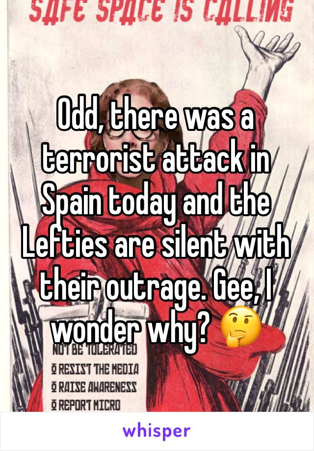 Odd, there was a terrorist attack in Spain today and the Lefties are silent with their outrage. Gee, I wonder why? 🤔