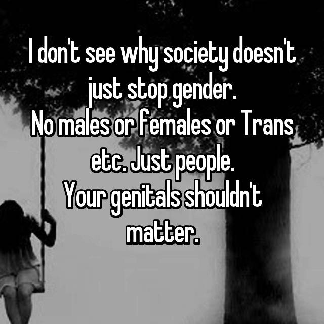 I don't see why society doesn't just stop gender. No males or females or Trans etc. Just people. Your genitals shouldn't matter.