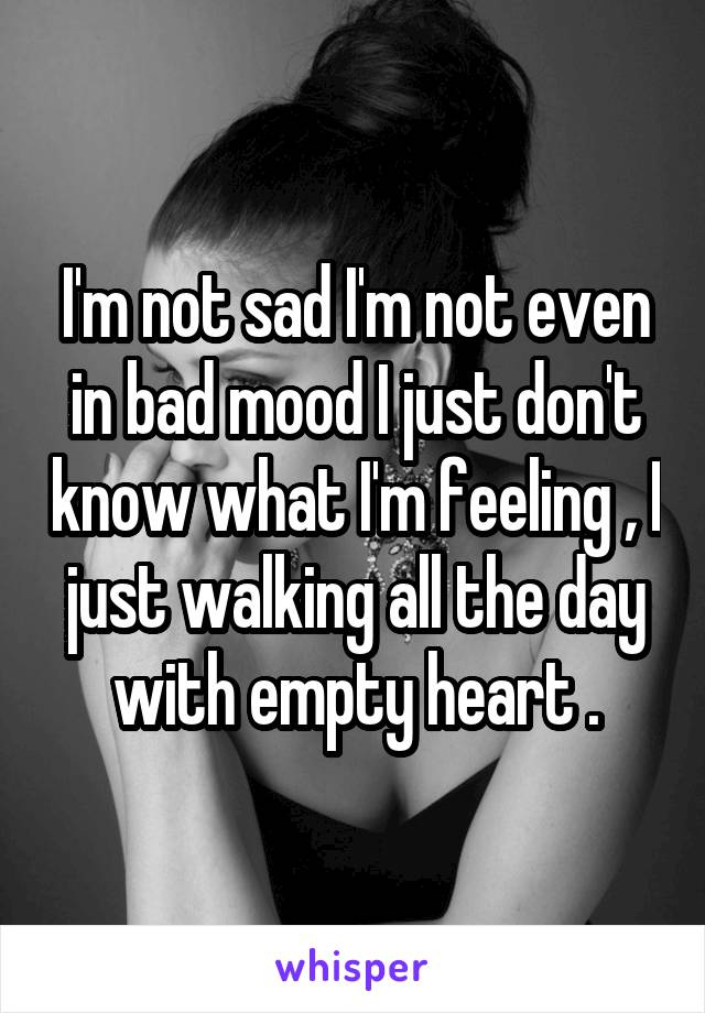 I'm not sad I'm not even in bad mood I just don't know what I'm feeling , I just walking all the day with empty heart .