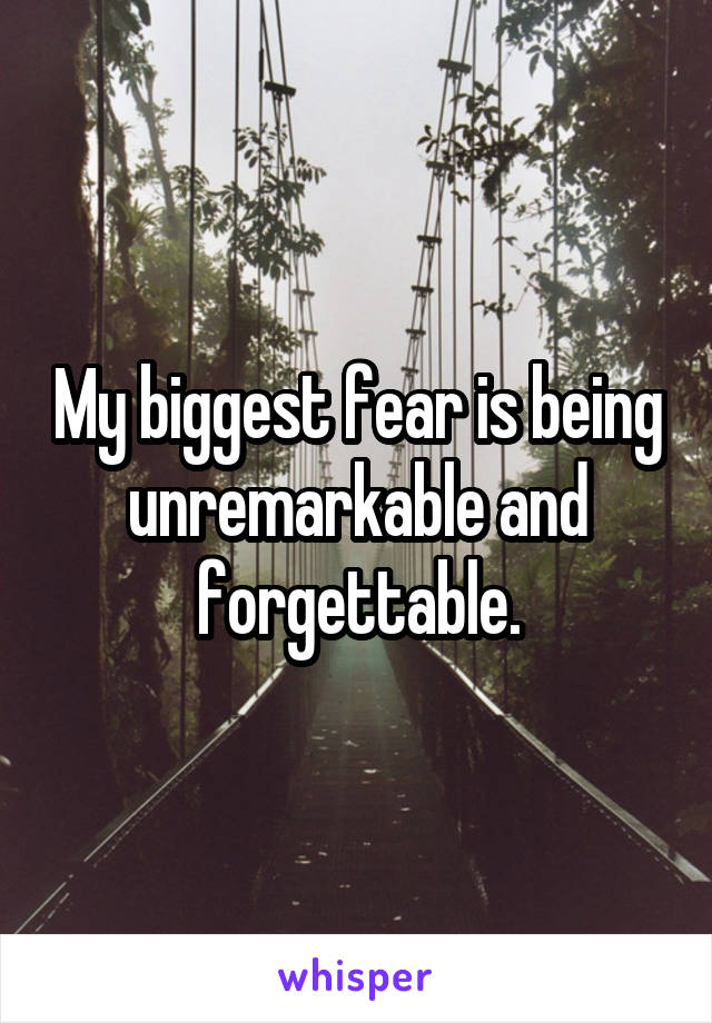 My biggest fear is being unremarkable and forgettable.