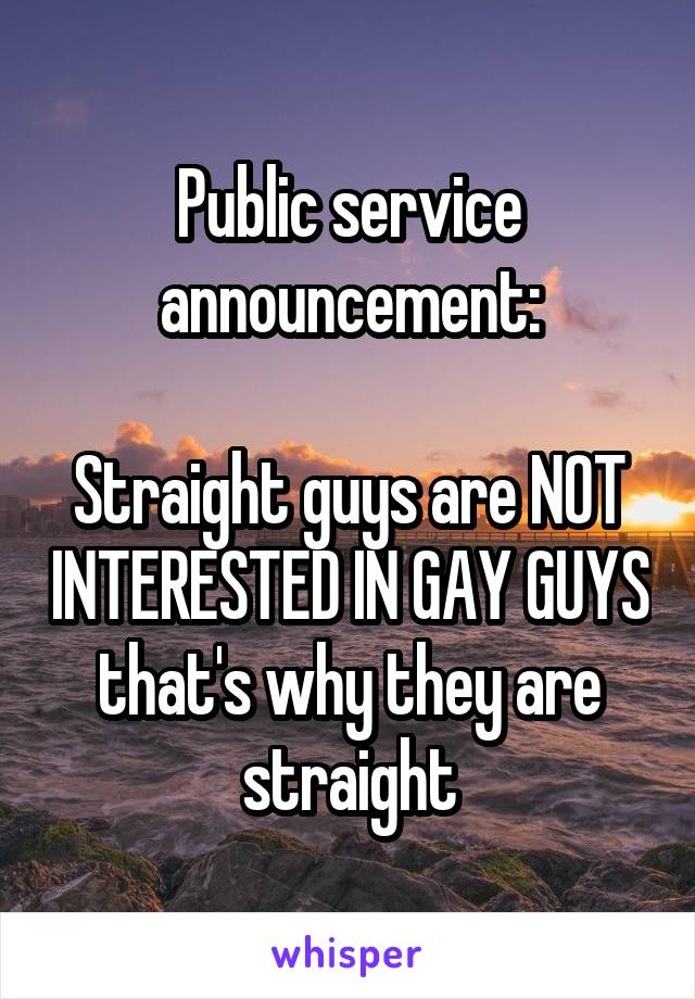 Public service announcement:  Straight guys are NOT INTERESTED IN GAY GUYS that's why they are straight
