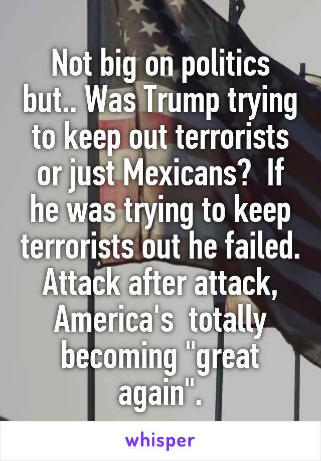 """Not big on politics but.. Was Trump trying to keep out terrorists or just Mexicans?  If he was trying to keep terrorists out he failed. Attack after attack, America's  totally becoming """"great again""""."""