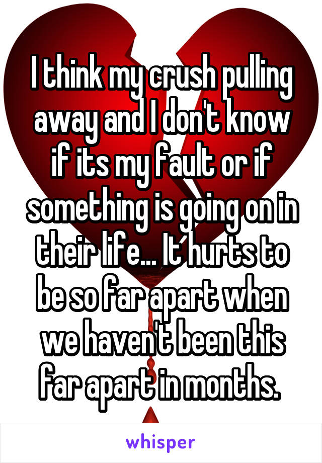 I think my crush pulling away and I don't know if its my fault or if something is going on in their life... It hurts to be so far apart when we haven't been this far apart in months.