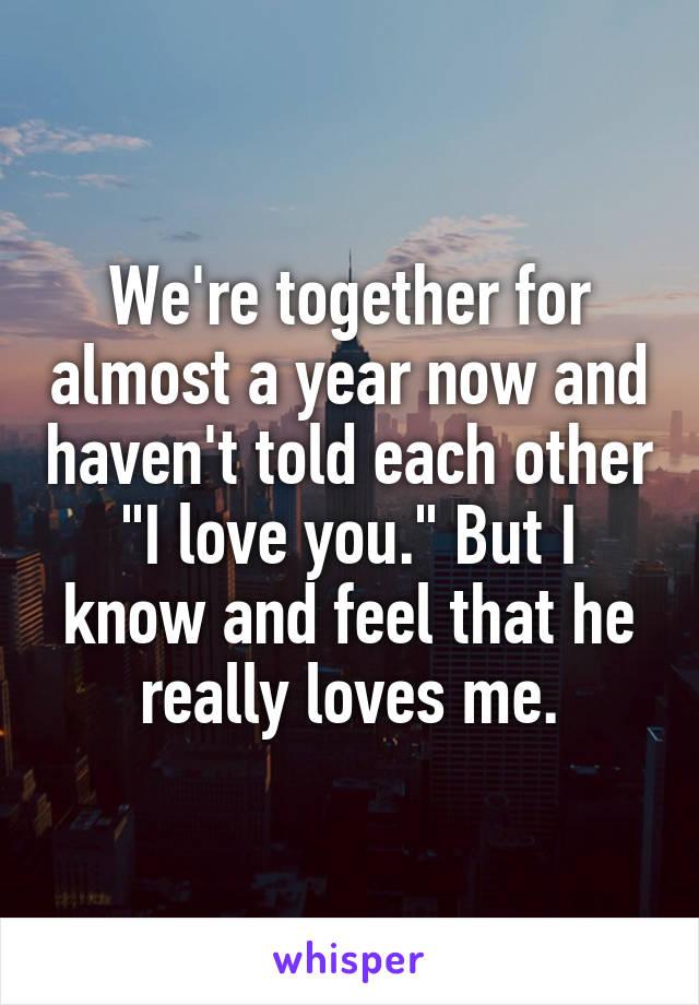 """We're together for almost a year now and haven't told each other """"I love you."""" But I know and feel that he really loves me."""