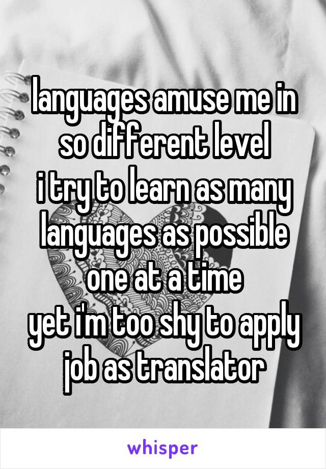 languages amuse me in so different level i try to learn as many languages as possible one at a time yet i'm too shy to apply job as translator