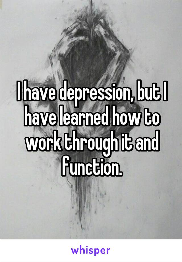 I have depression, but I have learned how to work through it and function.