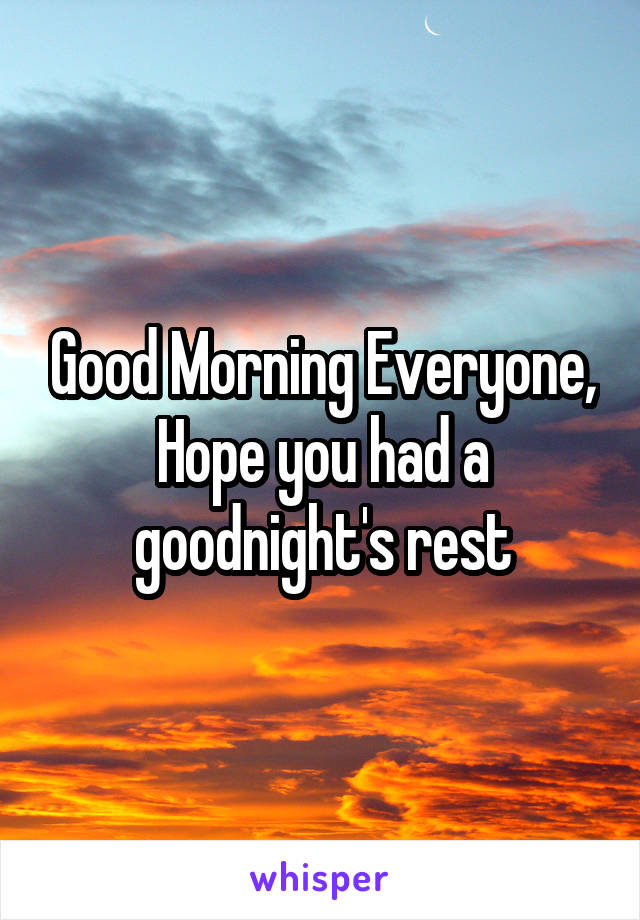 Good Morning Everyone, Hope you had a goodnight's rest