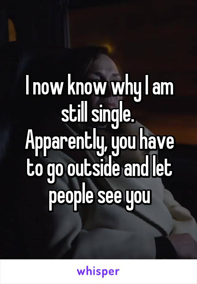 I now know why I am still single.  Apparently, you have to go outside and let people see you