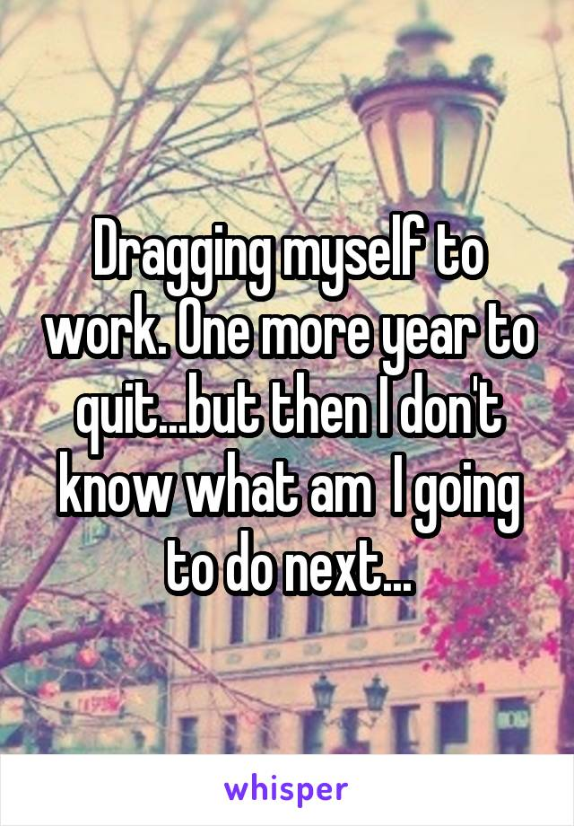 Dragging myself to work. One more year to quit...but then I don't know what am  I going to do next...