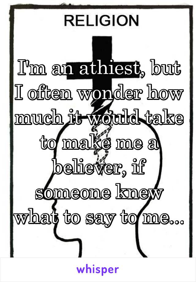 I'm an athiest, but I often wonder how much it would take to make me a believer, if someone knew what to say to me...
