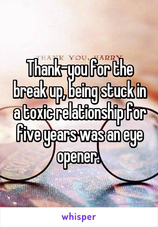 Thank-you for the break up, being stuck in a toxic relationship for five years was an eye opener.