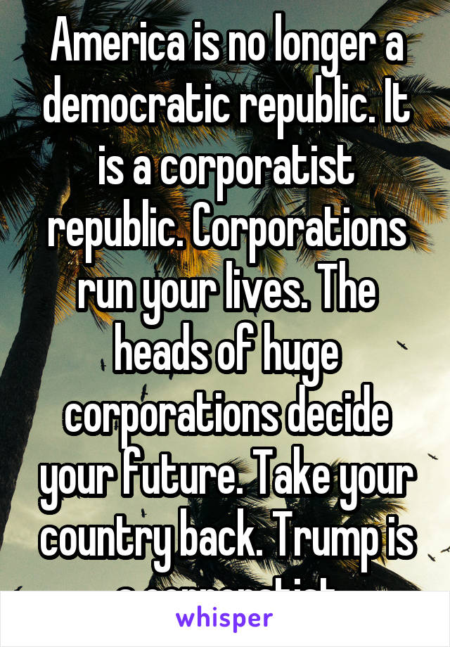 America is no longer a democratic republic. It is a corporatist republic. Corporations run your lives. The heads of huge corporations decide your future. Take your country back. Trump is a corporatist