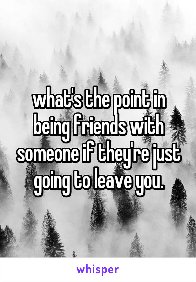 what's the point in being friends with someone if they're just going to leave you.