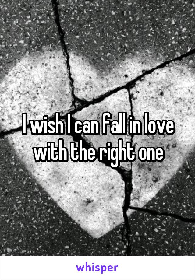 I wish I can fall in love with the right one