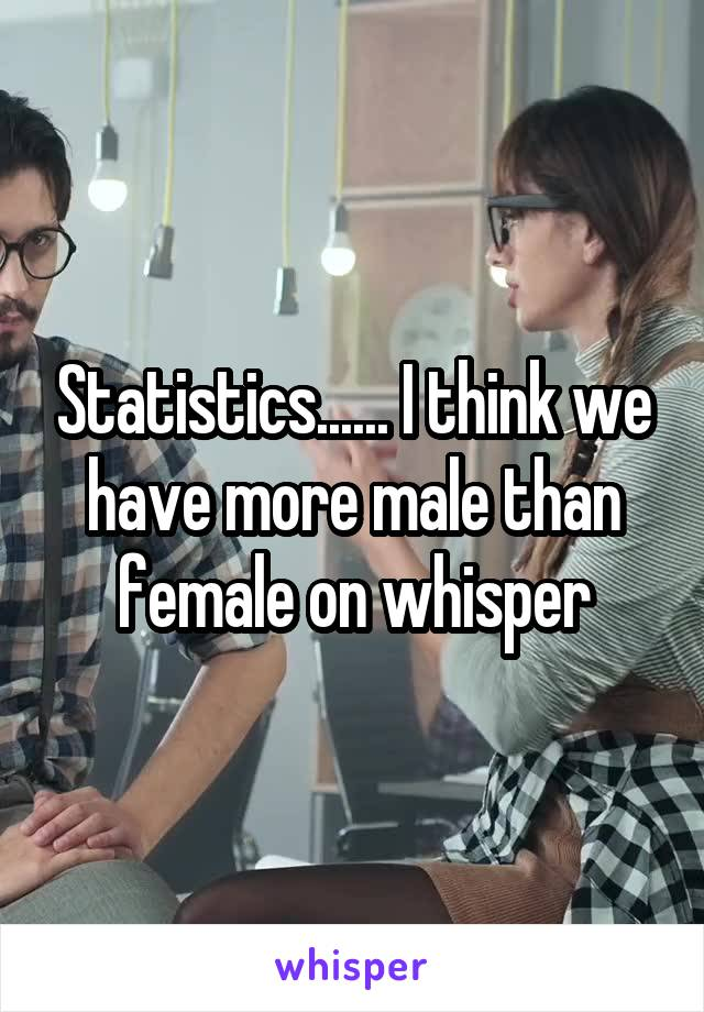 Statistics...... I think we have more male than female on whisper