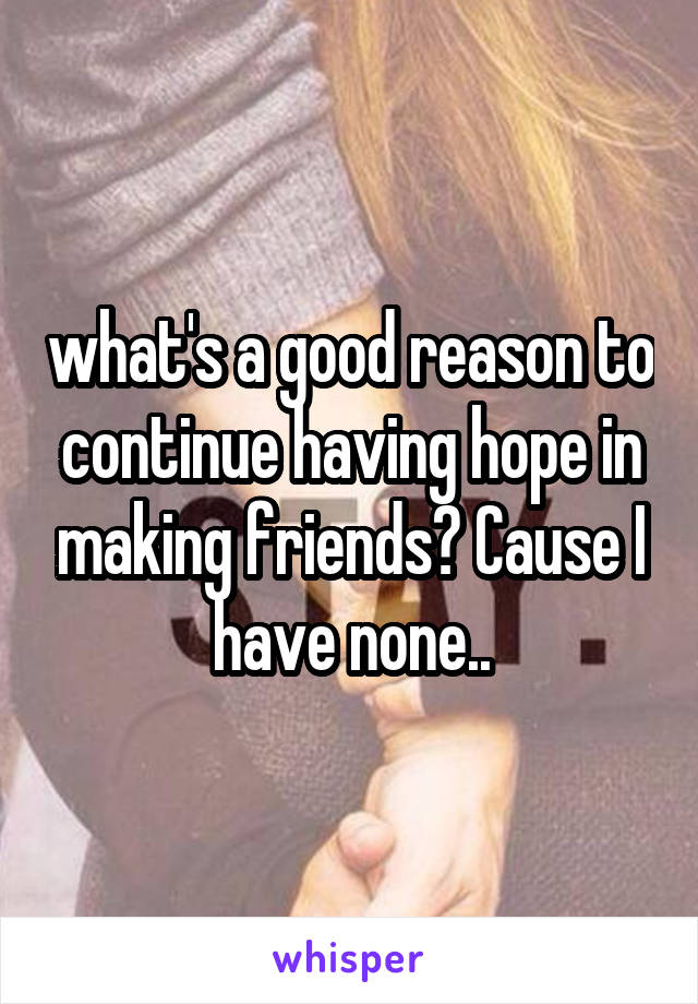 what's a good reason to continue having hope in making friends? Cause I have none..