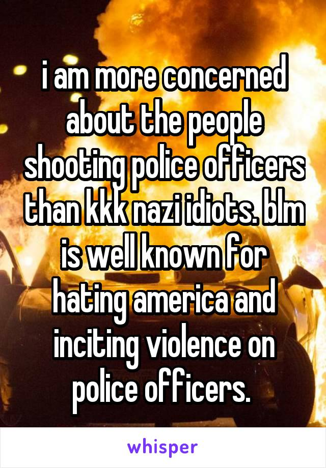 i am more concerned about the people shooting police officers than kkk nazi idiots. blm is well known for hating america and inciting violence on police officers.