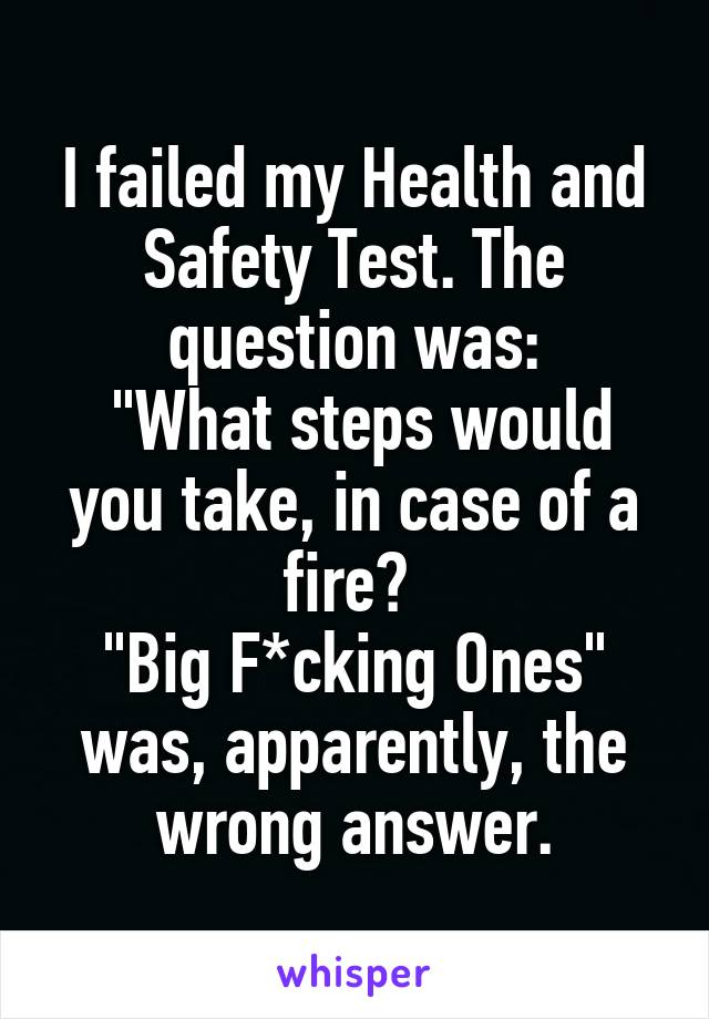 """I failed my Health and Safety Test. The question was:  """"What steps would you take, in case of a fire?  """"Big F*cking Ones"""" was, apparently, the wrong answer."""