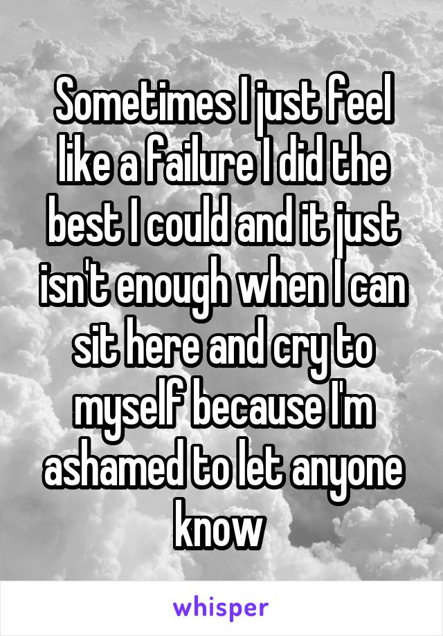 Sometimes I just feel like a failure I did the best I could and it just isn't enough when I can sit here and cry to myself because I'm ashamed to let anyone know