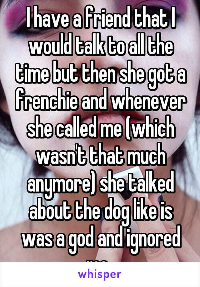 I have a friend that I would talk to all the time but then she got a frenchie and whenever she called me (which wasn't that much anymore) she talked about the dog like is was a god and ignored me.