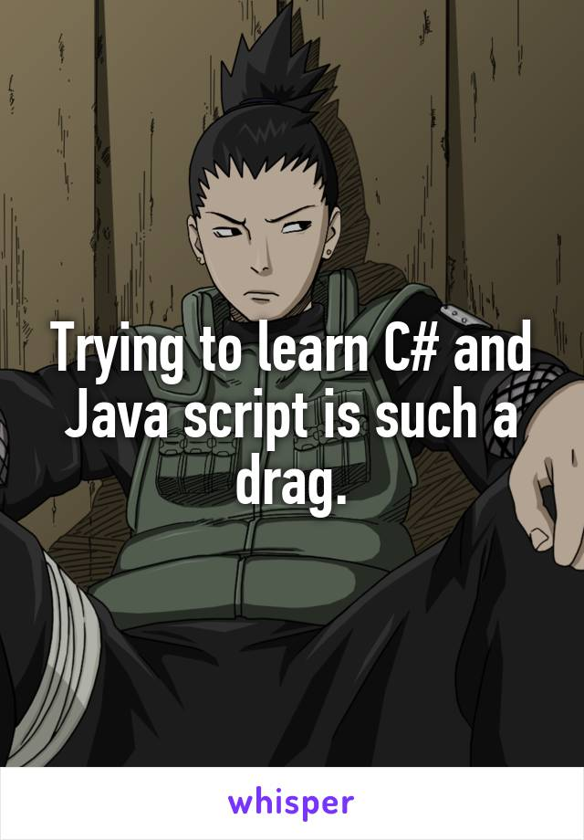 Trying to learn C# and Java script is such a drag.