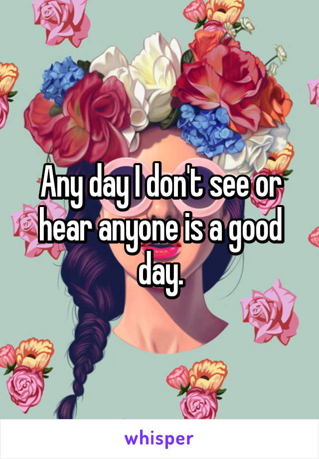 Any day I don't see or hear anyone is a good day.