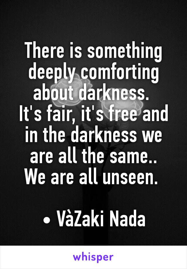 There is something deeply comforting about darkness.  It's fair, it's free and in the darkness we are all the same.. We are all unseen.   • VàZaki Nada