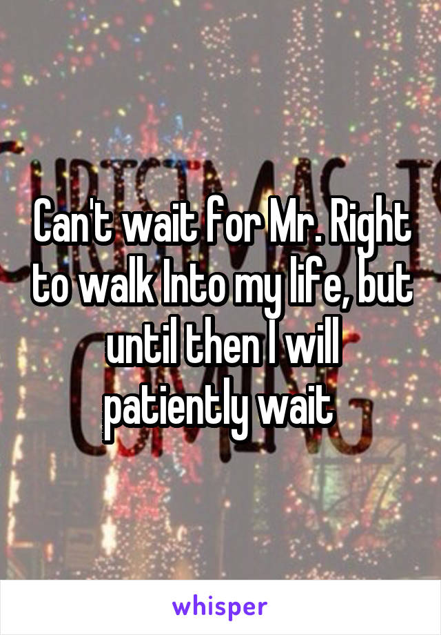Can't wait for Mr. Right to walk Into my life, but until then I will patiently wait