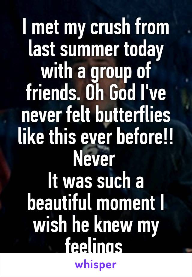I met my crush from last summer today with a group of friends. Oh God I've never felt butterflies like this ever before!! Never  It was such a beautiful moment I wish he knew my feelings