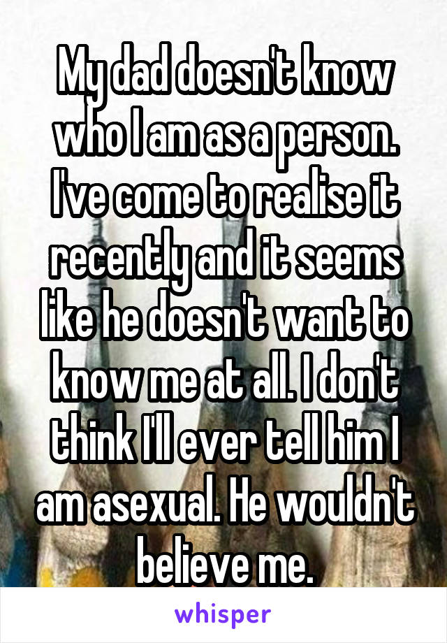 My dad doesn't know who I am as a person. I've come to realise it recently and it seems like he doesn't want to know me at all. I don't think I'll ever tell him I am asexual. He wouldn't believe me.