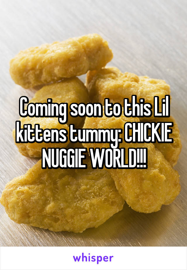 Coming soon to this Lil kittens tummy: CHICKIE NUGGIE WORLD!!!