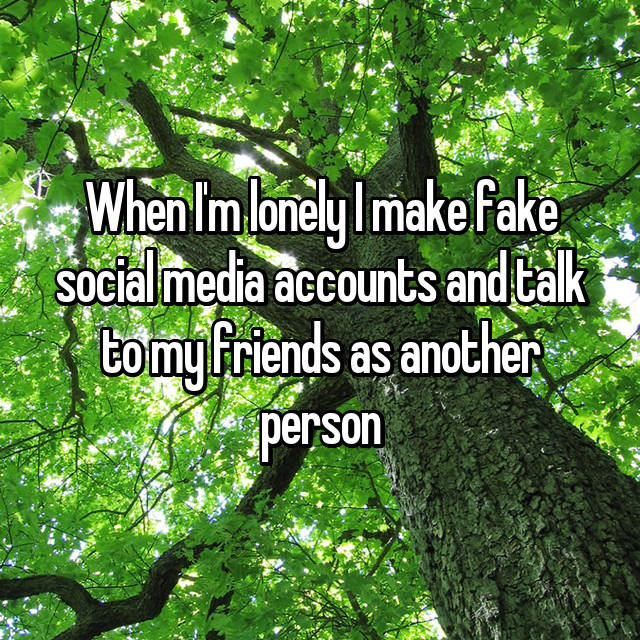 When I'm lonely I make fake social media accounts and talk to my friends as another person