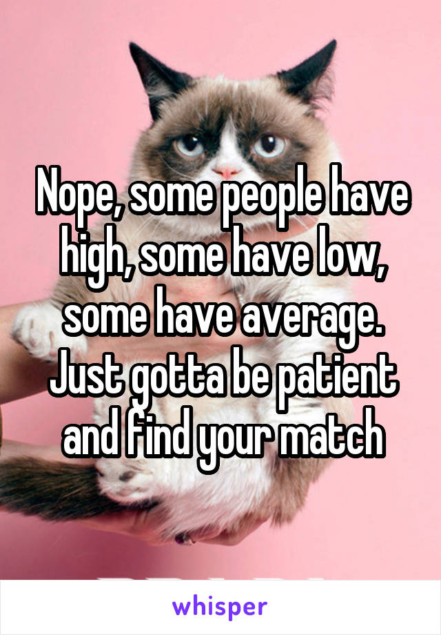 Nope, some people have high, some have low, some have average. Just gotta be patient and find your match