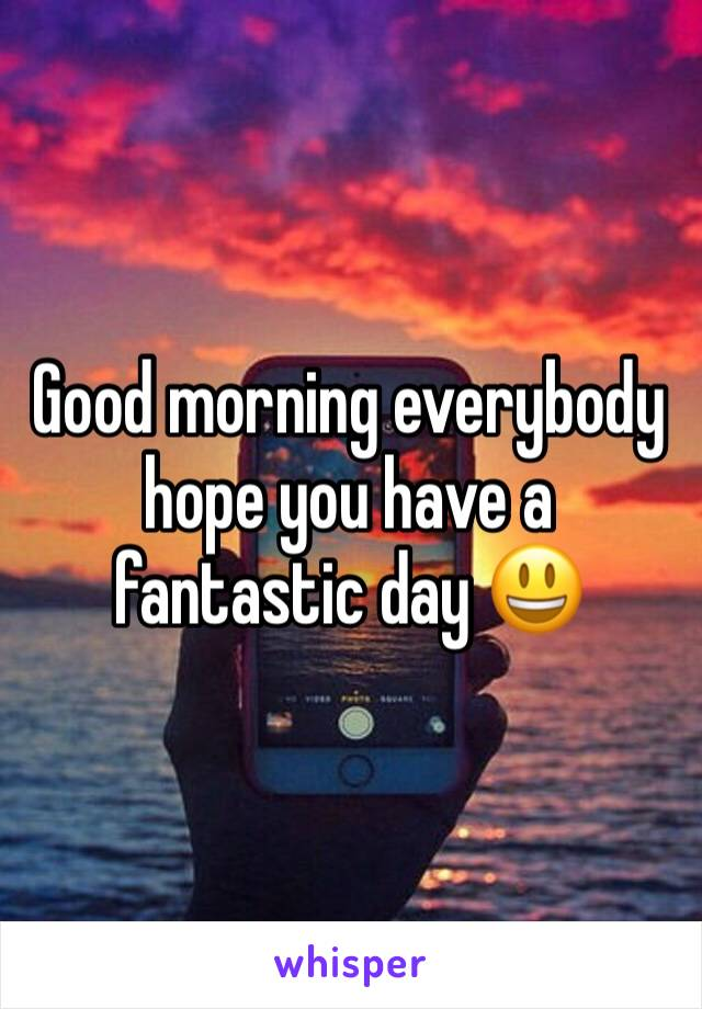 Good morning everybody hope you have a fantastic day 😃