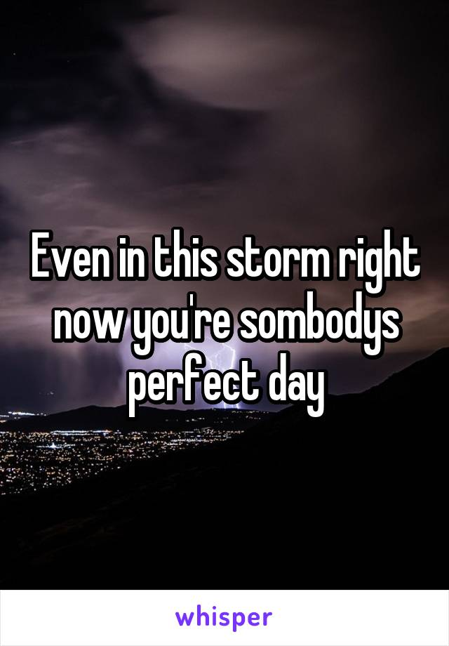 Even in this storm right now you're sombodys perfect day