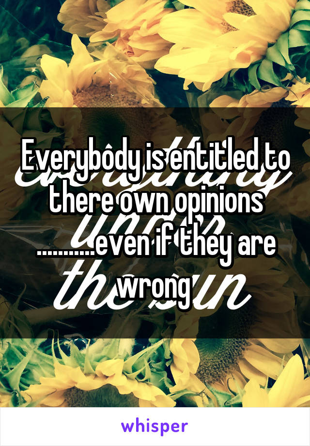Everybody is entitled to there own opinions ...........even if they are wrong